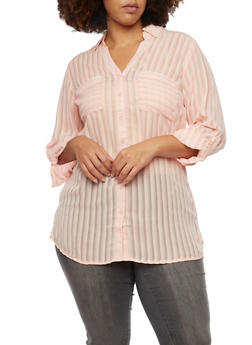Plus Size Striped Top with Button Front - BLUSH - 1803061634759