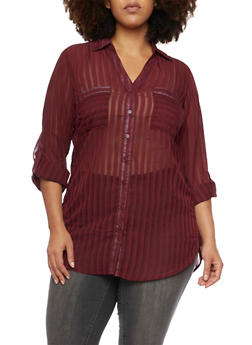 Plus Size Striped Top with Button Front - BURGUNDY (MAROON) - 1803061634759