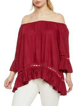 Plus Size Off The Shoulder Peasant Top with Crochet Inserts - BURGUNDY - 1803061634883