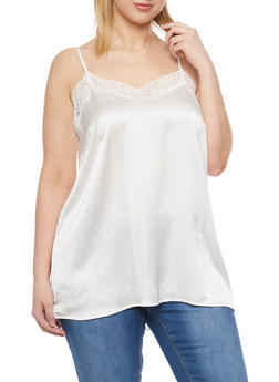 Plus Size Satin Camisole with Lace Trim Neckline - WHITE - 1803061634884