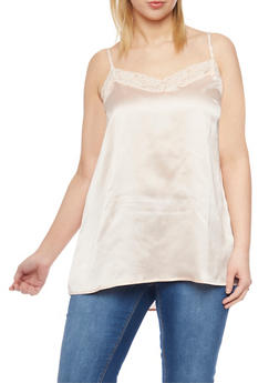 Plus Size Satin Camisole with Lace Trim Neckline - 1803061634884