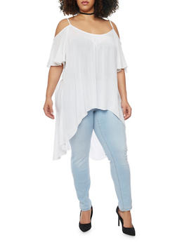 Plus Size Cold Shoulder Top with Split Crochet Trimmed Back - WHITE - 1803061634892
