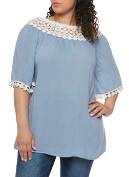 Plus Size Oversized Off the Shoulder Peasant Top with Crochet Trim - 1803061634894