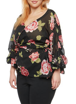 Plus Size Rose Print Ruched Sleeve Wrap Top - 1803061635126