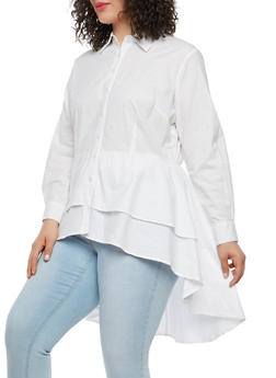 Plus Size Tiered High Low Button Front Top - 1803061635195