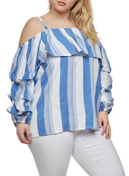 Plus Size Striped Off the Shoulder Top - 1803061635204