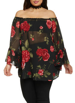 Plus Size Off The Shoulder Floral Tunic Top - 1803061638007