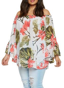 Plus Size Off The Shoulder Floral Tunic Top - 1803061638007