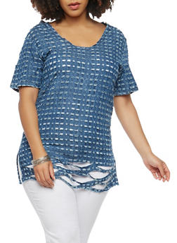 Plus Size Destroyed Chambray Top - 1803062124010
