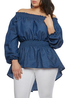 Plus Size Off the Shoulder High Low Denim Top - 1803062126500
