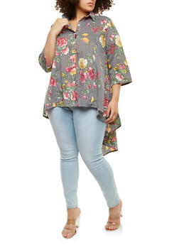 Plus Size Printed High Low Shirt - 1803062128511