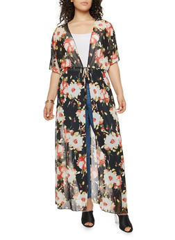 Plus Size Tie Waist Floral Duster - 1803062701598