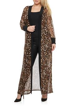 Plus Size Leopard Print Mesh Duster - 1803062701599