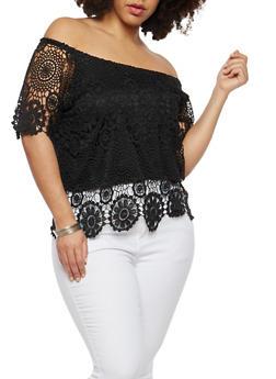 Plus Size Off the Shoulder Crochet Top - 1803062701647