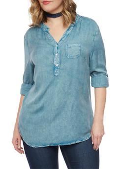 Plus Size Chambray Tunic Top with Rolled Cuffs - 1803062705083