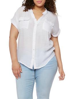Plus Size Button Down Linen Shirt - 1803062705242