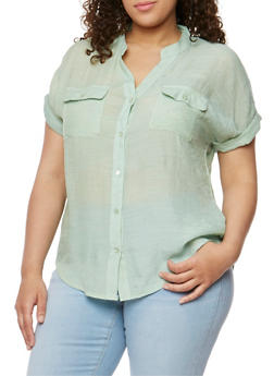 Plus Size Button Down Linen Shirt - 1803062705242
