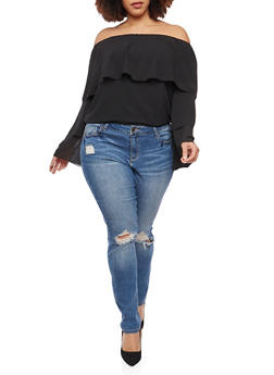 Plus Size Tiered Off the Shoulder Top - 1803062705364