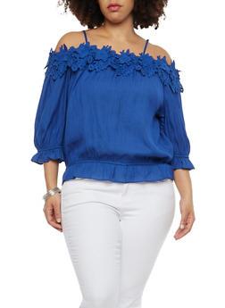 Plus Size Crochet Trim Off the Shoulder Top - 1803062705377