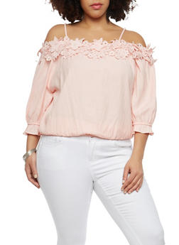 Plus Size Crochet Trim Off the Shoulder Top - 1803062705377