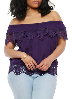 Plus Size Crochet Trim Off the Shoulder Top - 1803062705390