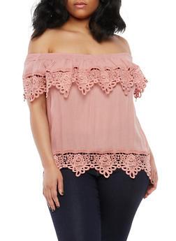 Plus Size Crochet Trim Off the Shoulder Top - 1803062705390