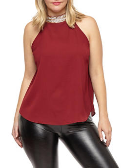 Plus Size Crepe Knit Jeweled Chain Top - 1803062705408