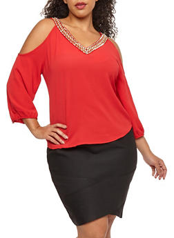 Plus Size Crepe Knit Cold Shoulder Top - 1803062705410