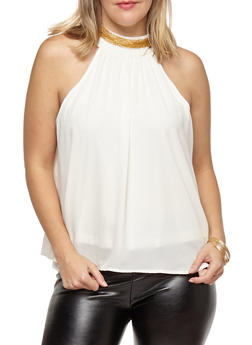 Plus Size High Neck Top with Chain Detail - 1803062705423