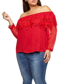 Plus Size Off the Shoulder Crochet Overlay Top - 1803062705424