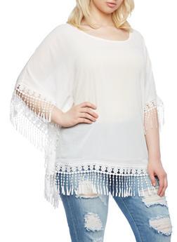 Plus Size Sheer Top With Crochet Fringe,WHITE,medium