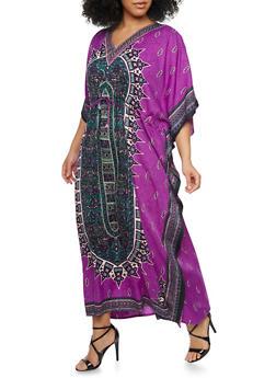 Plus Size Dashiki Print Caftan with Drawstring - PURPLE - 1803062900901