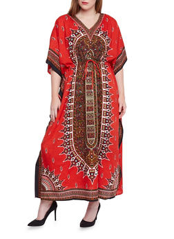 Plus Size Dashiki Print Caftan with Drawstring - RED - 1803062900901