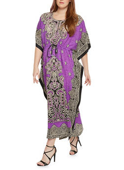 Plus Size Printed Embellished Caftan - 1803062900916