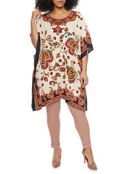 Plus Size Printed Tunic Top with Kimono Sleeves - 1803062900926