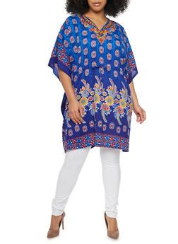 Plus Size Printed Tunic Top with Kimono Sleeves - 1803062900928