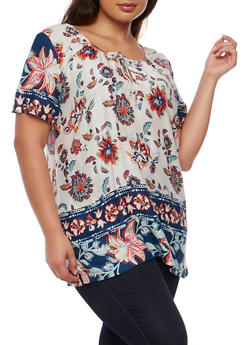 Plus Size Short Sleeve Floral Top with Keyhole Tie - 1803062906226