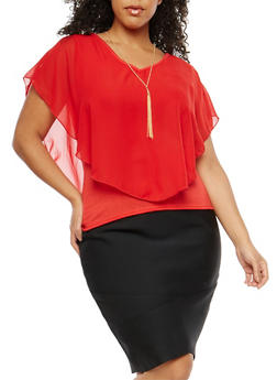 Plus Size Overlay Top with Necklace - 1803063400505