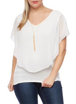 Plus Size Flutter Overlay Top with Necklace - 1803063400805