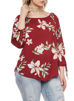 Plus Size Floral Off the Shoulder  Tie Sleeves Top - 1803063401586