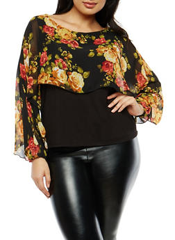 Plus Size Floral Slit Sleeve Overlay Top - 1803063406844