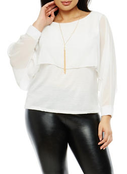 Plus Size Chiffon Slit Sleeve Overlay Top - 1803063407844