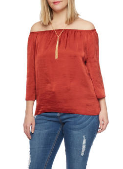 Plus Size Off the Shoulder Peasant Top with Tassel Necklace - 1803063409551