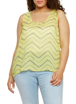 Plus Size Zip Zag Split Back Tank Top - 1803063500260