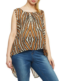 Plus Size Abstract Animal Print High Low Top - 1803063500261