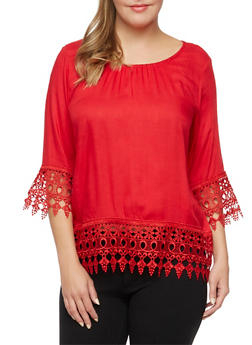 Plus Size Top with Crochet Trim - 1803063508200