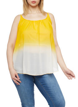 Plus Size Dip Dye Sleeveless Top - 1803063508201
