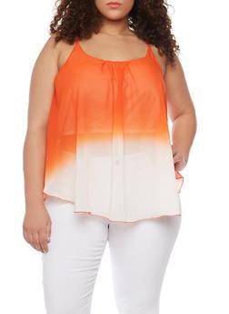 Plus Size Dip Dye Sleeveless Top - 1803063508201