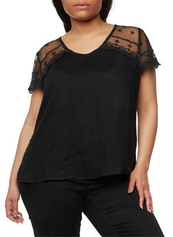 Plus Size V Neck Top with Crochet Trimmed Lace Yoke - 1803063508202