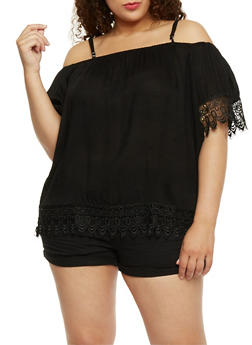 Plus Size Cold Shoulder Crochet Trimmed Top - 1803063508203
